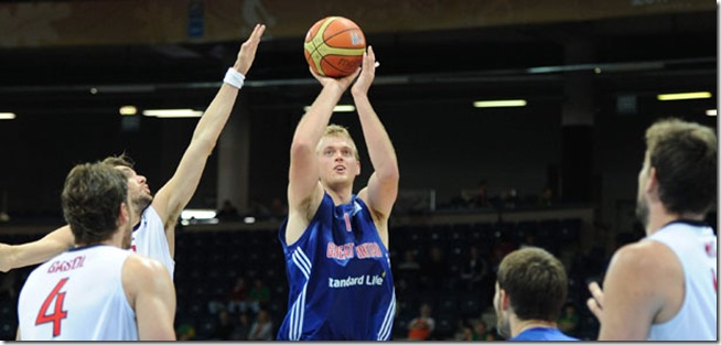 PANEVEZYS, LITHUANIA - September 2: Dan Clark of Great Britain shoots the open jump shot during the FIBA Eurobasket 2011 Group A game against Spain at the Cido Arena in Panevezys, Lithuania on September 2nd, 2011. Photo by Mansoor Ahmed/Mansoor Ahmed Photography.